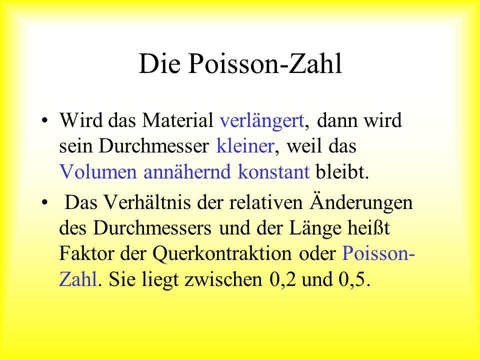 ist die Poisson- Zahl, Die Poisson-Zahl Es ziehe zu beiden Seiten eine Kraft