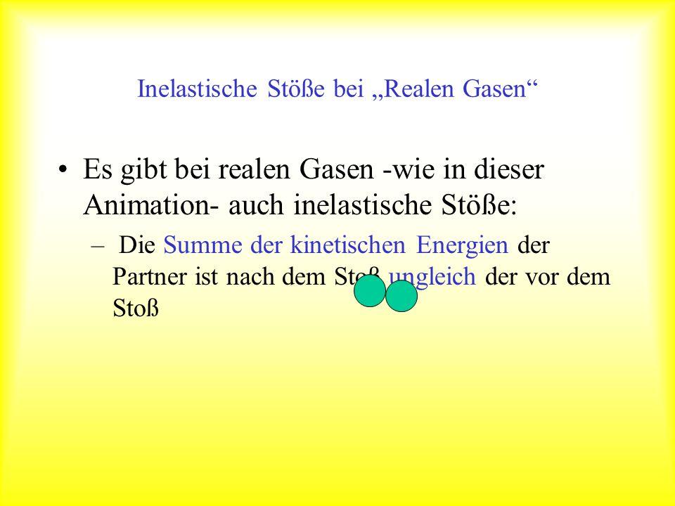 Inelastische Stöße bei Realen Gasen Es gibt bei realen Gasen -wie in dieser Animation- auch inelastische Stöße: – Die Summe der kinetischen Energien der Partner ist nach dem Stoß ungleich der vor dem Stoß