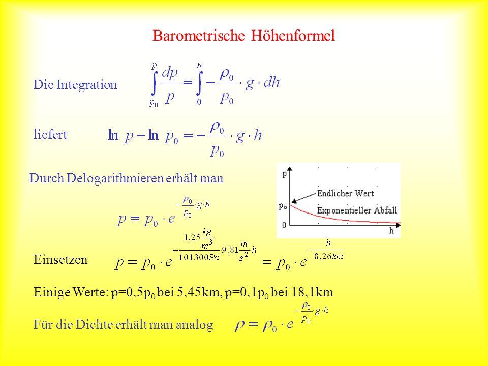 Barometrische Höhenformel Einsetzen Einige Werte: p=0,5p 0 bei 5,45km, p=0,1p 0 bei 18,1km Für die Dichte erhält man analogDie Integration liefert Durch Delogarithmieren erhält man
