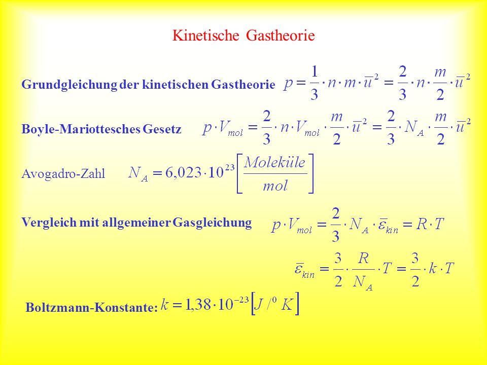 Kinetische Gastheorie Grundgleichung der kinetischen GastheorieBoyle-Mariottesches GesetzAvogadro-Zahl Vergleich mit allgemeiner Gasgleichung Boltzmann-Konstante:
