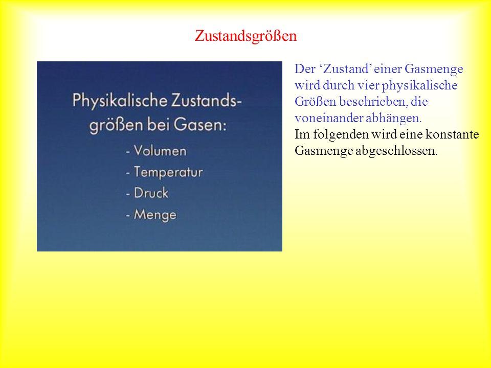 Zustandsgrößen Der Zustand einer Gasmenge wird durch vier physikalische Größen beschrieben, die voneinander abhängen.