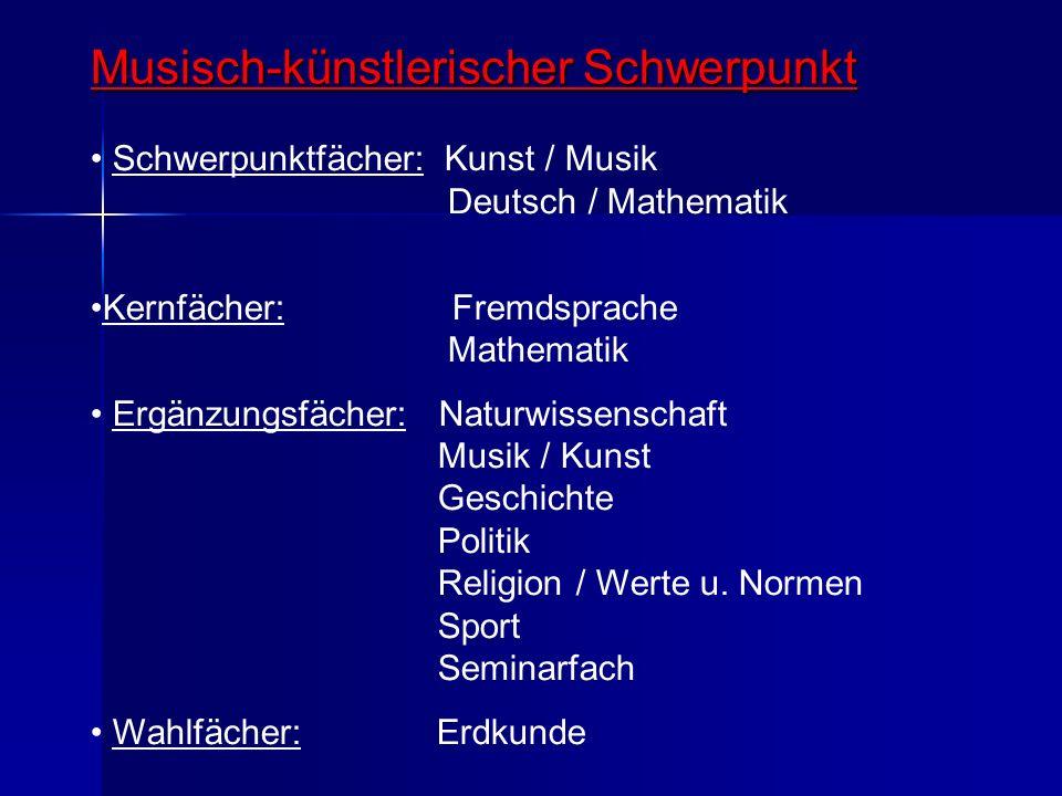 Musisch-künstlerischer Schwerpunkt Schwerpunktfächer: Kunst / Musik Deutsch / Mathematik Kernfächer: Fremdsprache Mathematik Ergänzungsfächer: Naturwi
