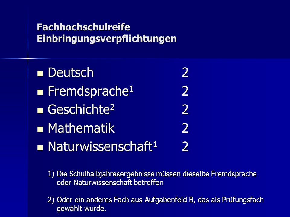 Fachhochschulreife Einbringungsverpflichtungen Deutsch2 Deutsch2 Fremdsprache 1 2 Fremdsprache 1 2 Geschichte 2 2 Geschichte 2 2 Mathematik2 Mathemati