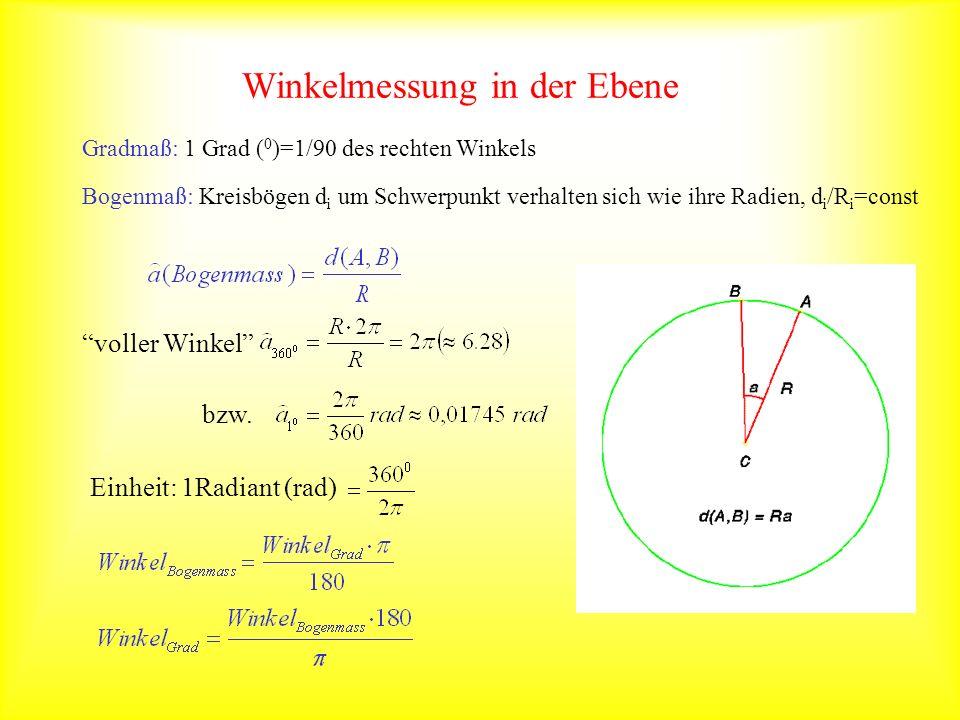 Gradmaß: 1 Grad ( 0 )=1/90 des rechten Winkels Bogenmaß: Kreisbögen d i um Schwerpunkt verhalten sich wie ihre Radien, d i /R i =const voller Winkel b