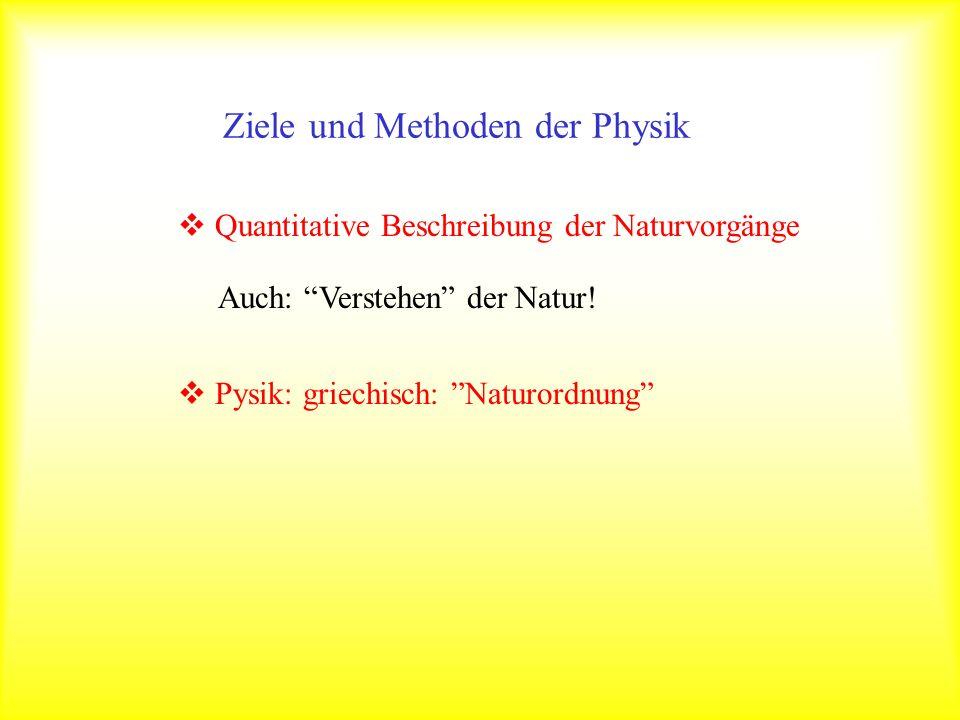 Quantitative Beschreibung der Naturvorgänge Auch: Verstehen der Natur! Pysik: griechisch: Naturordnung Ziele und Methoden der Physik