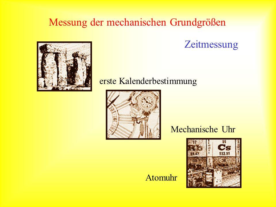 Messung der mechanischen Grundgrößen Cs-Fontäne als Atomuhr Resonanzfrequenz: 9,192,631,770 Hz www.boulder.nist.gov/timefreq/cesium/fountain.htm Zeitmessung