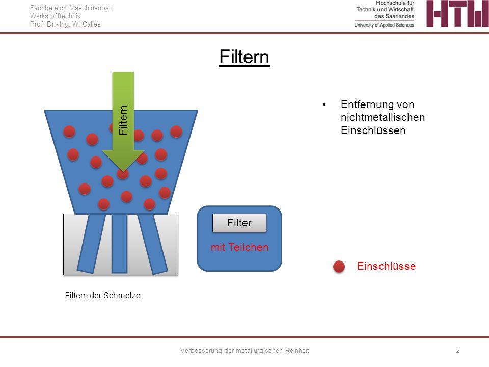 Fachbereich Maschinenbau Werkstofftechnik Prof. Dr.- Ing. W. Calles Verbesserung der metallurgischen Reinheit2 Filter mit Teilchen Filtern Entfernung