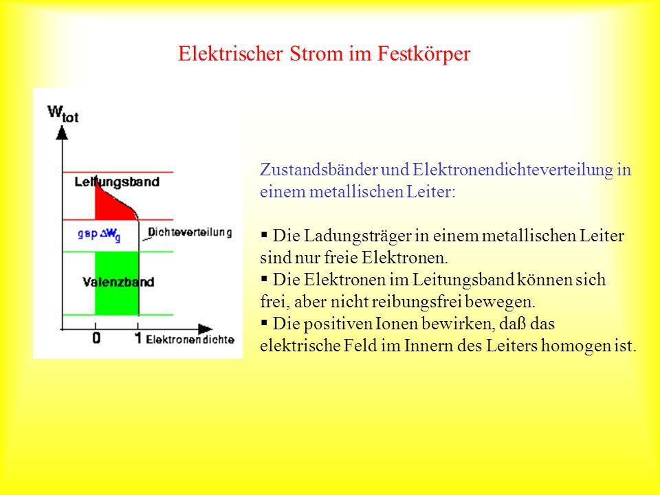 Elektrischer Strom im Festkörper Zustandsbänder und Elektronendichteverteilung in einem metallischen Leiter: Die Ladungsträger in einem metallischen L