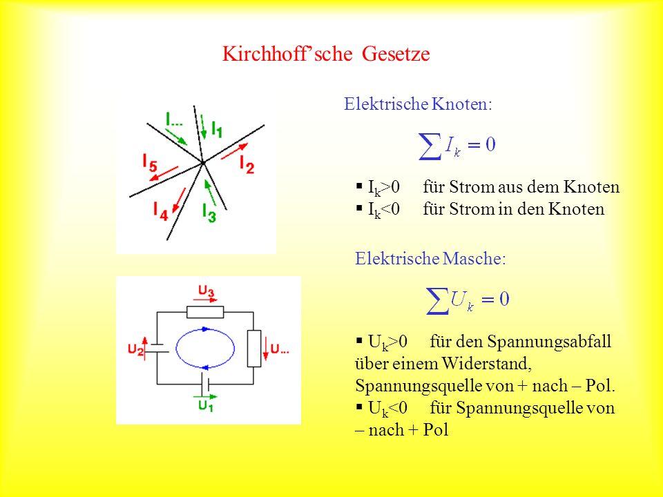 Kirchhoffsche Gesetze Elektrische Knoten: I k >0 für Strom aus dem Knoten I k <0 für Strom in den Knoten Elektrische Masche: U k >0 für den Spannungsa