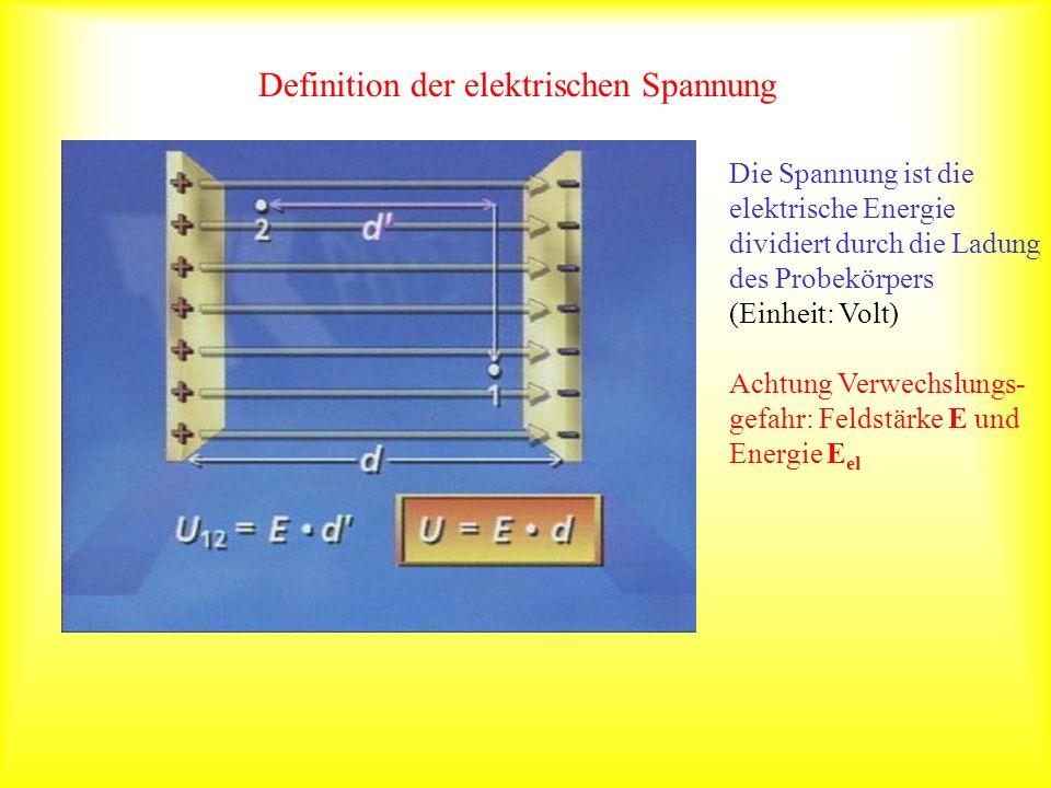 el Definition der elektrischen Spannung Die Spannung ist die elektrische Energie dividiert durch die Ladung des Probekörpers (Einheit: Volt) Achtung V