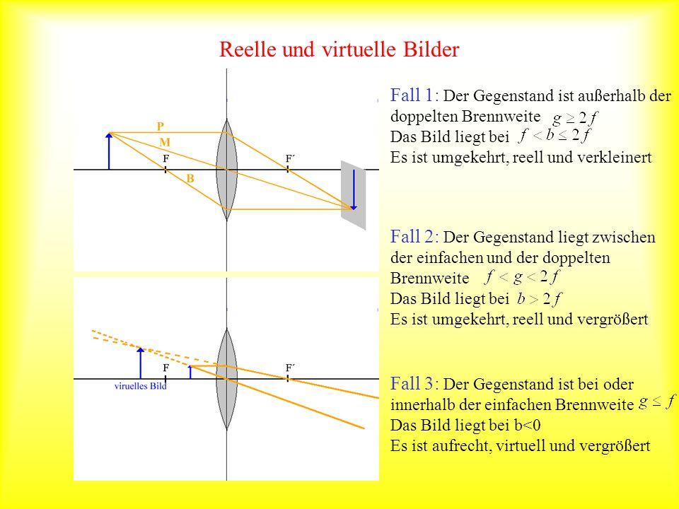 Reelle und virtuelle Bilder Fall 1: Der Gegenstand ist außerhalb der doppelten Brennweite Das Bild liegt bei Es ist umgekehrt, reell und verkleinert F