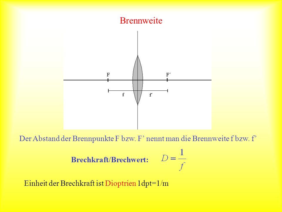 Brennweite Der Abstand der Brennpunkte F bzw. F nennt man die Brennweite f bzw. f Brechkraft/Brechwert: Einheit der Brechkraft ist Dioptrien 1dpt=1/m