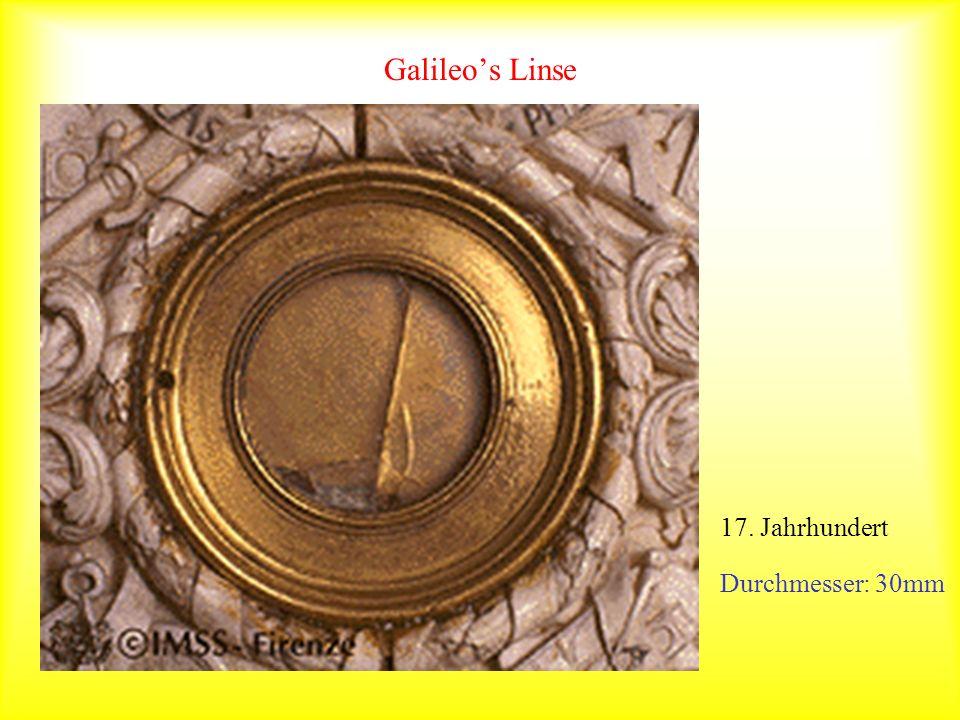 Galileos Linse Einfallswinkel=Reflexionswinkel Durchmesser: 30mm 17. Jahrhundert