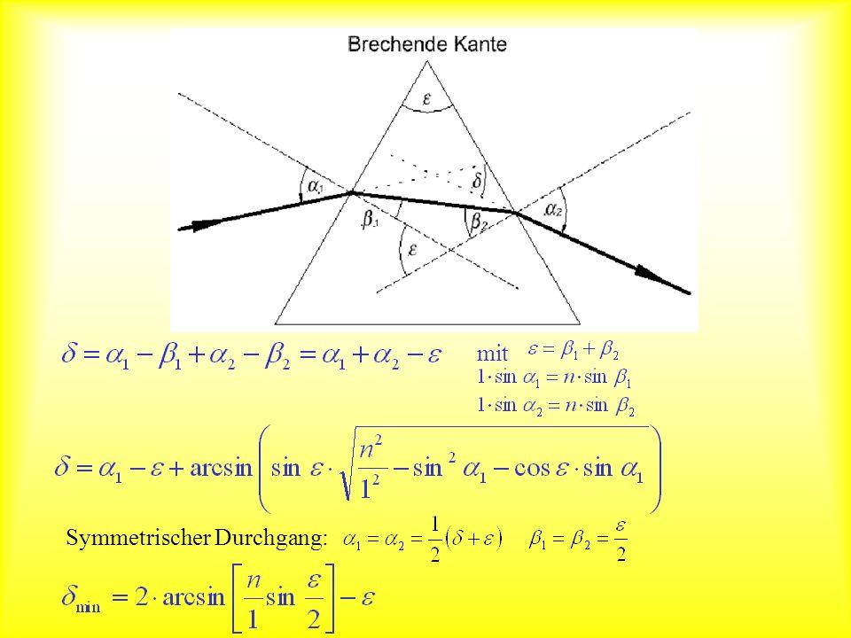 Prisma als Spektrograph Im Medium hängen Lichtgeschwindigkeit und Brechungsindex von der Wellenlänge ab.