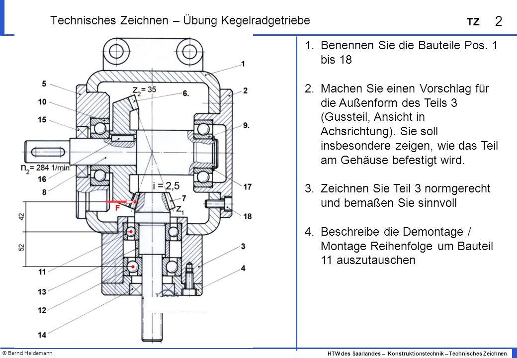 © Bernd Heidemann 2 HTW des Saarlandes – Konstruktionstechnik – Technisches Zeichnen TZ Technisches Zeichnen – Übung Kegelradgetriebe 1.Benennen Sie d