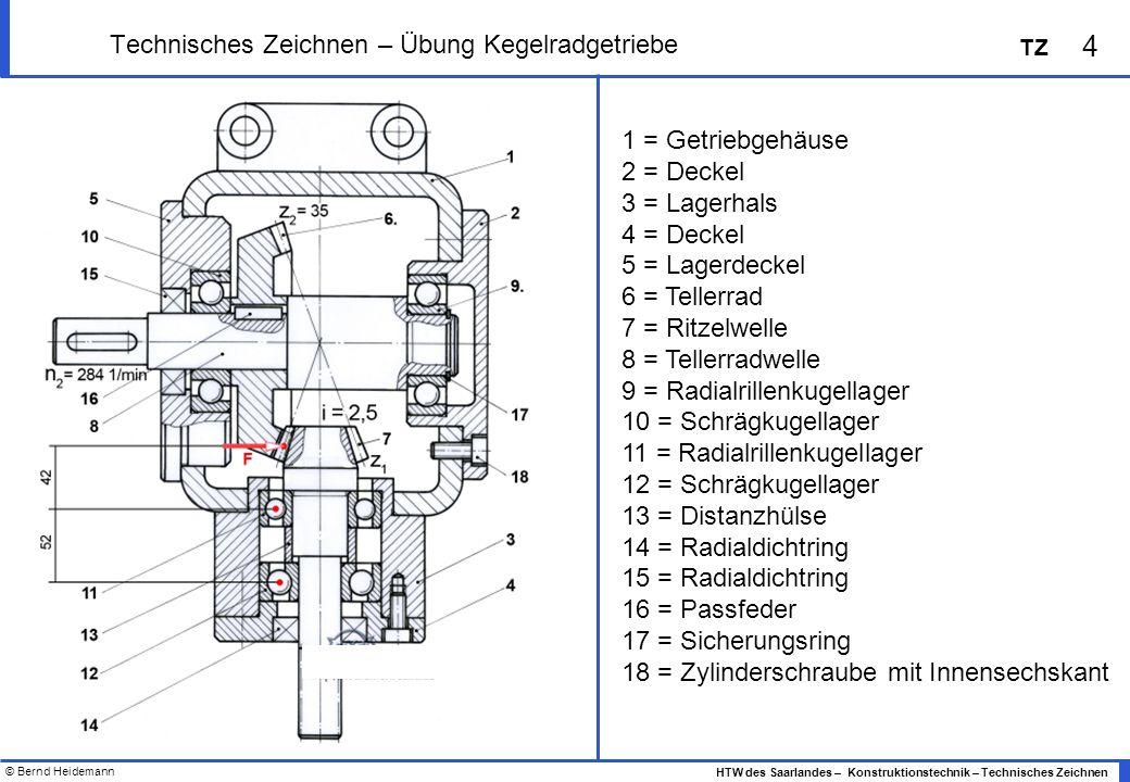 © Bernd Heidemann 4 HTW des Saarlandes – Konstruktionstechnik – Technisches Zeichnen TZ Technisches Zeichnen – Übung Kegelradgetriebe 1 = Getriebgehäu