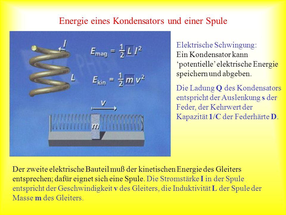 Energie eines Kondensators und einer Spule Elektrische Schwingung: Ein Kondensator kann potentielle elektrische Energie speichern und abgeben. Die Lad