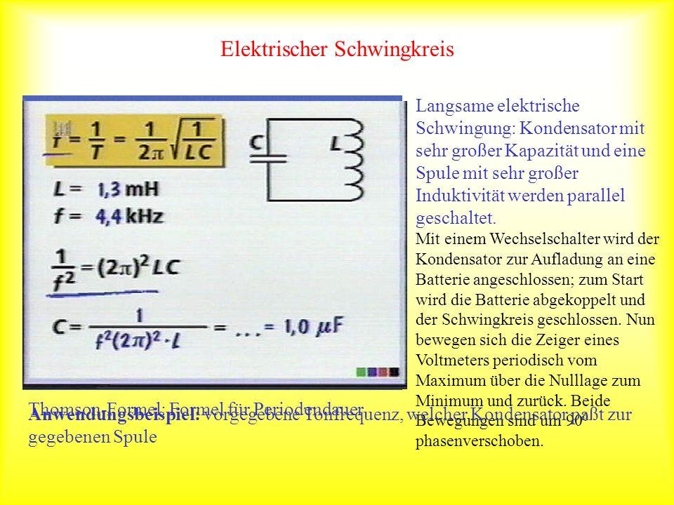 Elektrischer Schwingkreis Langsame elektrische Schwingung: Kondensator mit sehr großer Kapazität und eine Spule mit sehr großer Induktivität werden pa