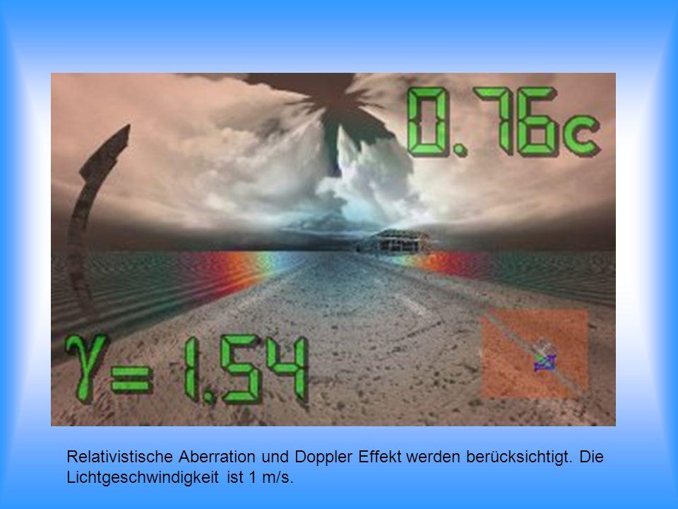 Relativistische Aberration und Doppler Effekt werden berücksichtigt. Die Lichtgeschwindigkeit ist 1 m/s.