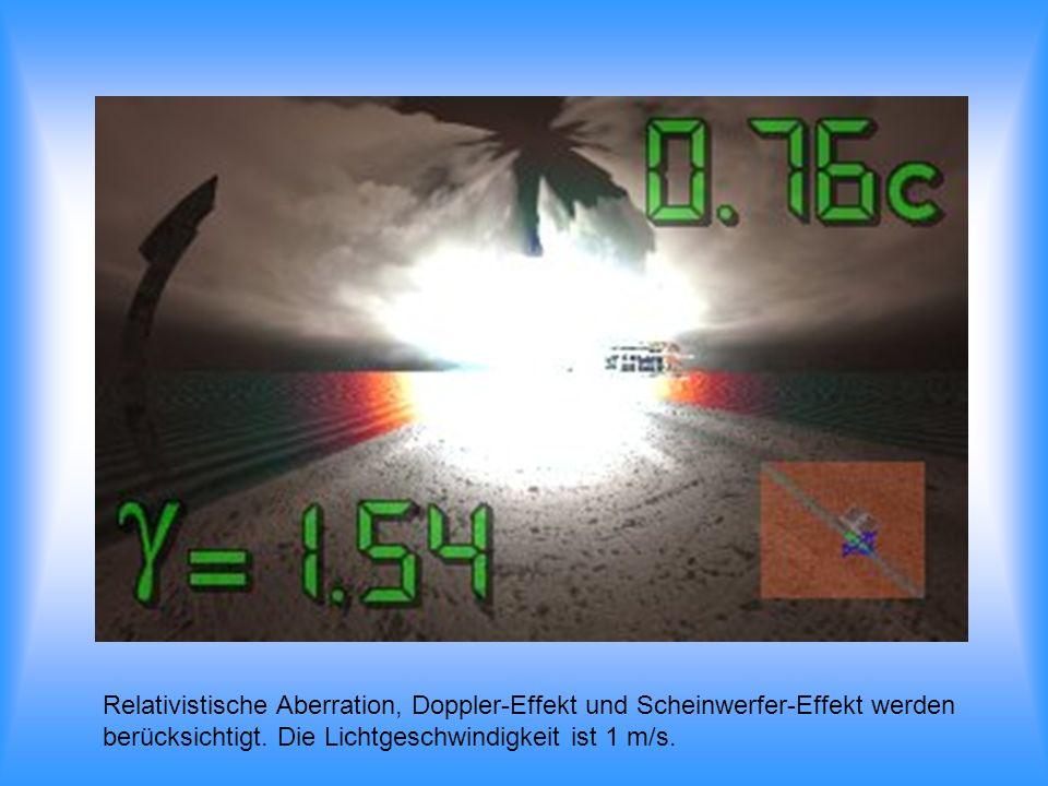 Relativistische Aberration, Doppler-Effekt und Scheinwerfer-Effekt werden berücksichtigt. Die Lichtgeschwindigkeit ist 1 m/s.