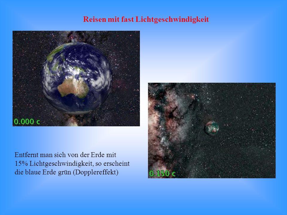 Entfernt man sich von der Erde mit 15% Lichtgeschwindigkeit, so erscheint die blaue Erde grün (Dopplereffekt) Reisen mit fast Lichtgeschwindigkeit