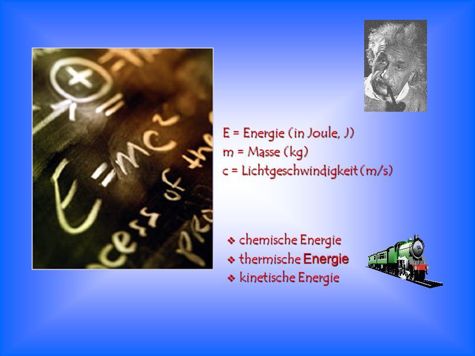 E = Energie (in Joule, J) m = Masse (kg) c = Lichtgeschwindigkeit (m/s) chemische Energie chemische Energie thermische Energie thermische Energie kine