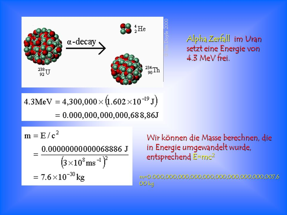 Alpha Zerfall im Uran setzt eine Energie von 4.3 MeV frei. Wir können die Masse berechnen, die in Energie umgewandelt wurde, entsprechend E=mc 2 m=0.0
