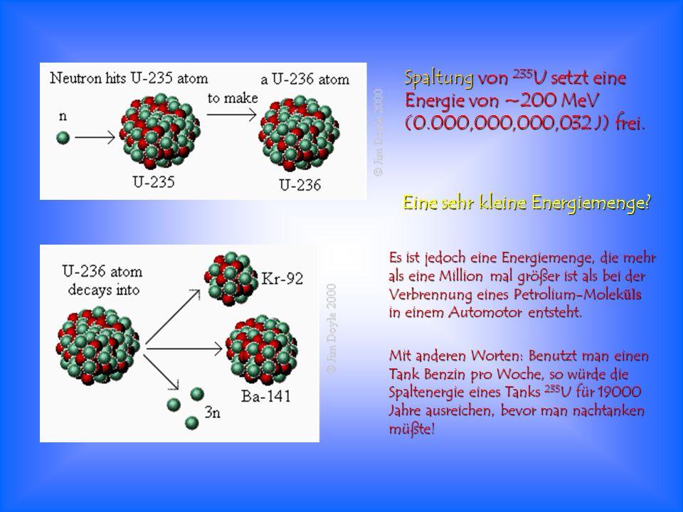 Spaltung von 235 U setzt eine Energie von ~200 MeV (0.000,000,000,032 J) frei. Eine sehr kleine Energiemenge? Es ist jedoch eine Energiemenge, die meh