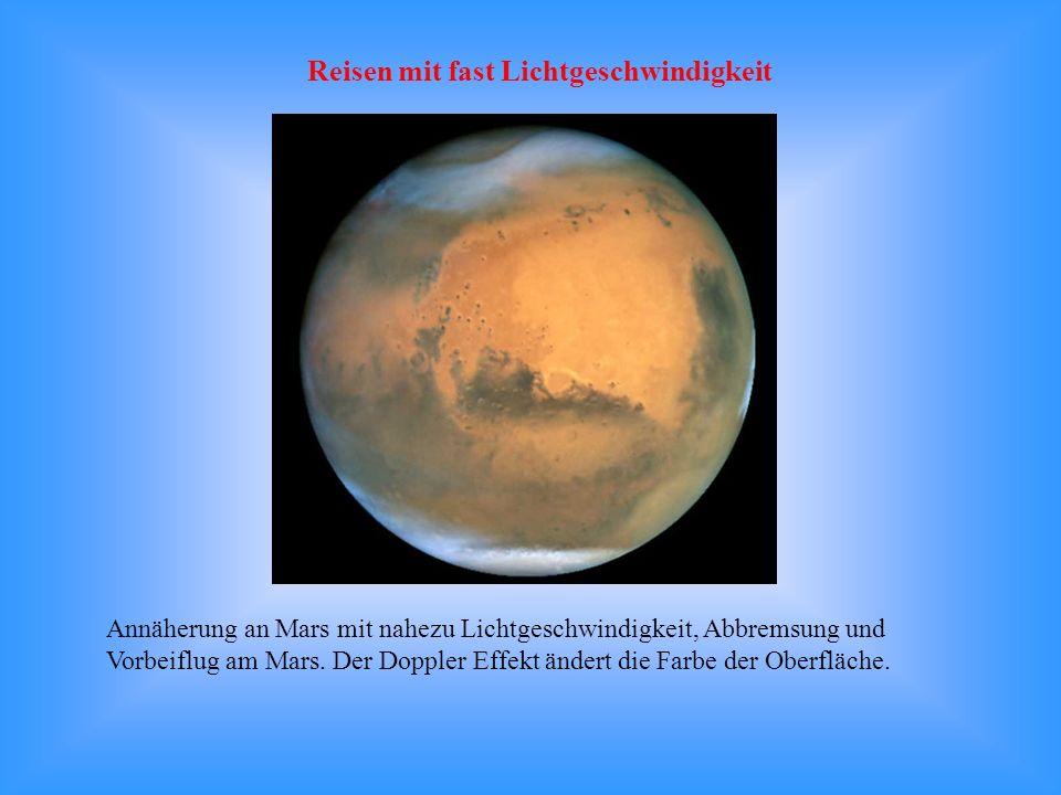 Annäherung an Mars mit nahezu Lichtgeschwindigkeit, Abbremsung und Vorbeiflug am Mars. Der Doppler Effekt ändert die Farbe der Oberfläche. Reisen mit