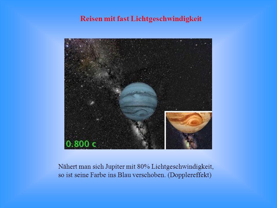 Nähert man sich Jupiter mit 80% Lichtgeschwindigkeit, so ist seine Farbe ins Blau verschoben. (Dopplereffekt) Reisen mit fast Lichtgeschwindigkeit