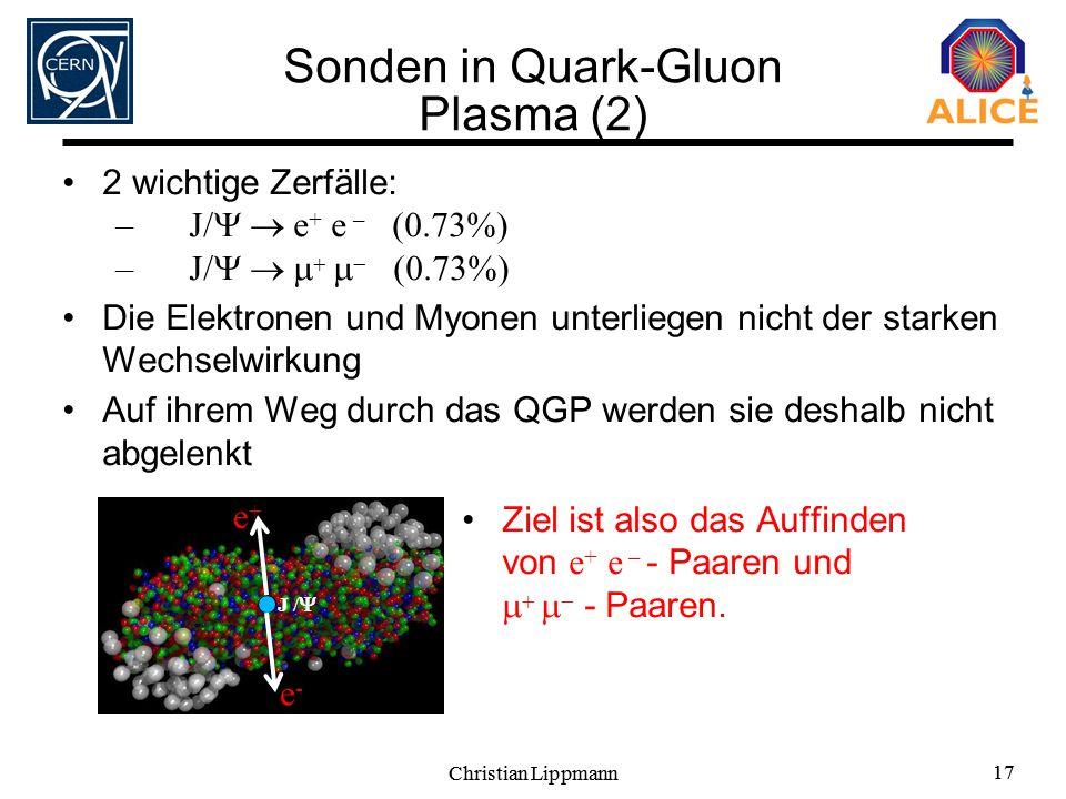 Christian Lippmann 17 Christian Lippmann 17 Sonden in Quark-Gluon Plasma (2) 2 wichtige Zerfälle: –J/ e + e – (0.73%) –J/ (0.73%) Die Elektronen und M