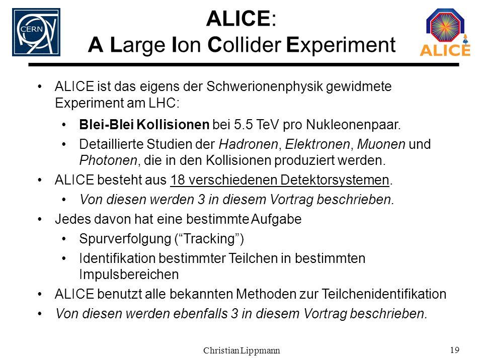 Christian Lippmann 19 ALICE: A Large Ion Collider Experiment ALICE ist das eigens der Schwerionenphysik gewidmete Experiment am LHC: Blei-Blei Kollisi