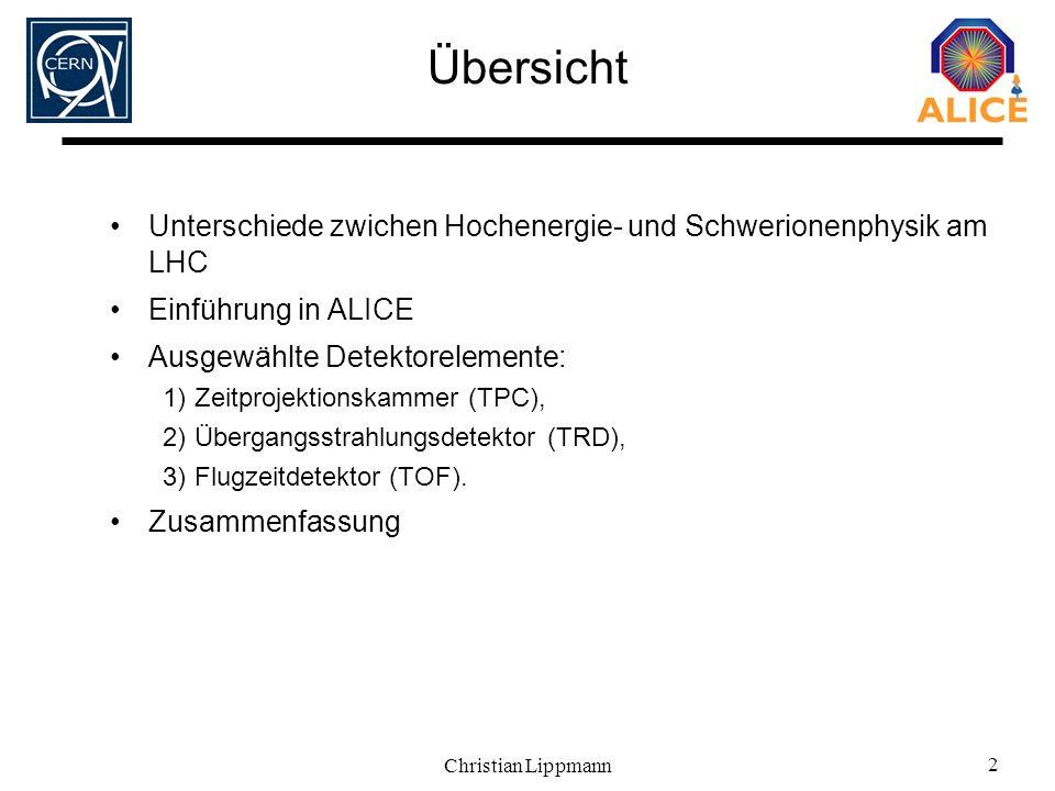 Christian Lippmann 2 Übersicht Unterschiede zwichen Hochenergie- und Schwerionenphysik am LHC Einführung in ALICE Ausgewählte Detektorelemente: 1)Zeit