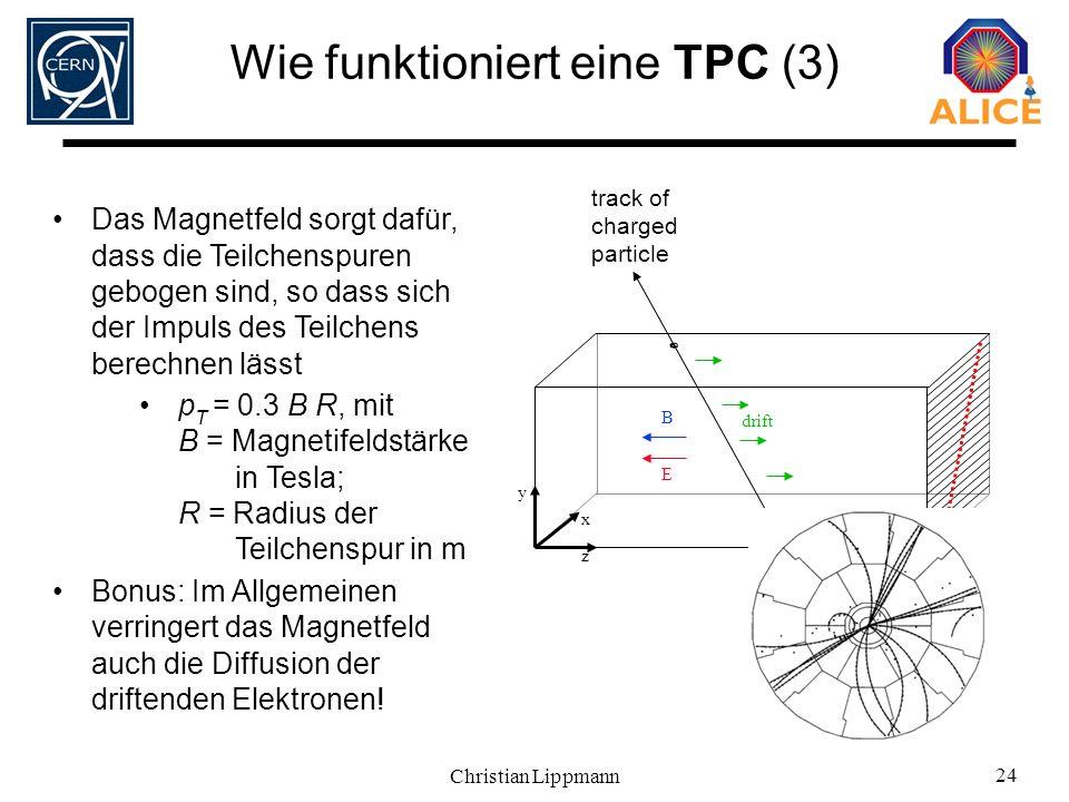 Christian Lippmann 24 Wie funktioniert eine TPC (3) x E drift track of charged particle y z Das Magnetfeld sorgt dafür, dass die Teilchenspuren geboge