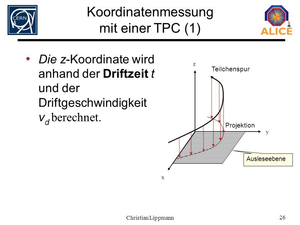 Christian Lippmann 26 Die z-Koordinate wird anhand der Driftzeit t und der Driftgeschwindigkeit v d berechnet. z x y Ausleseebene Teilchenspur Projekt