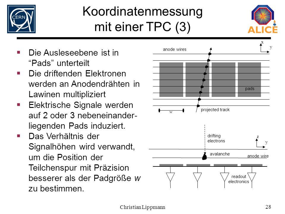 Christian Lippmann 28 projected track pads drifting electrons avalanche y x y z Die Ausleseebene ist in Pads unterteilt Die driftenden Elektronen werd
