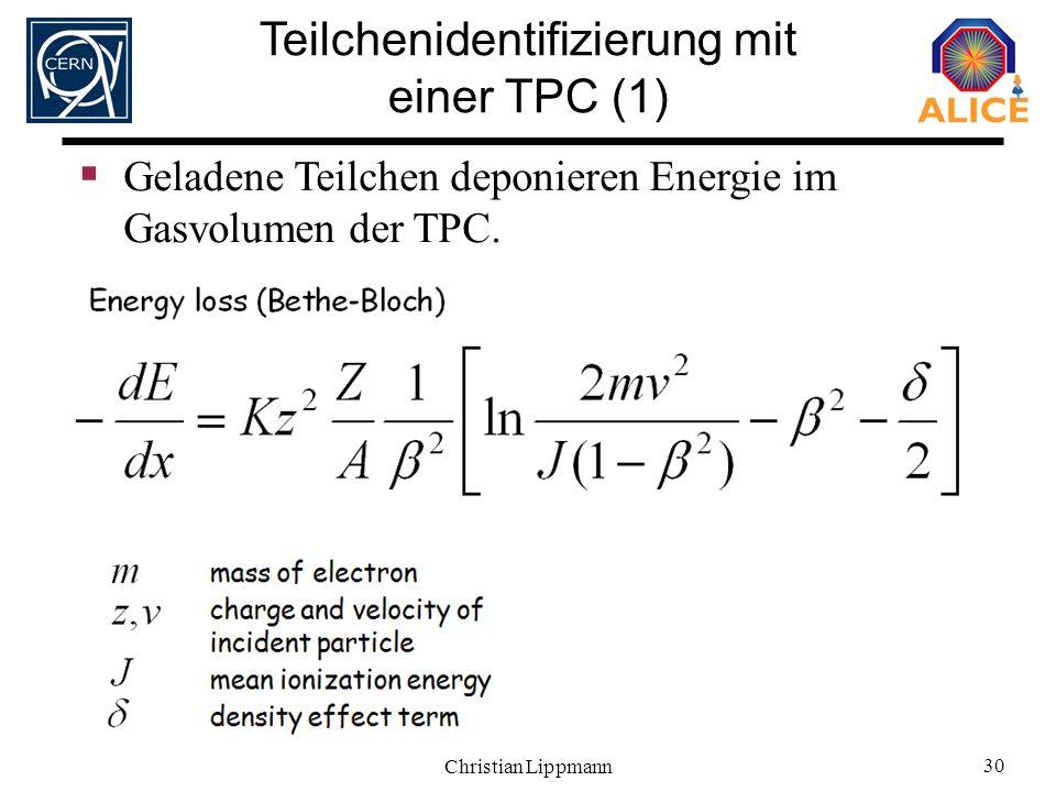 Christian Lippmann 30 Geladene Teilchen deponieren Energie im Gasvolumen der TPC. Teilchenidentifizierung mit einer TPC (1)
