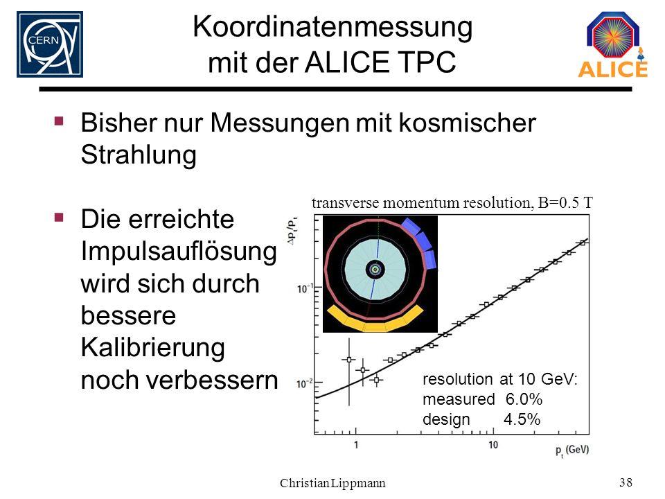 Christian Lippmann 38 transverse momentum resolution, B=0.5 T resolution at 10 GeV: measured 6.0% design 4.5% Koordinatenmessung mit der ALICE TPC Bis