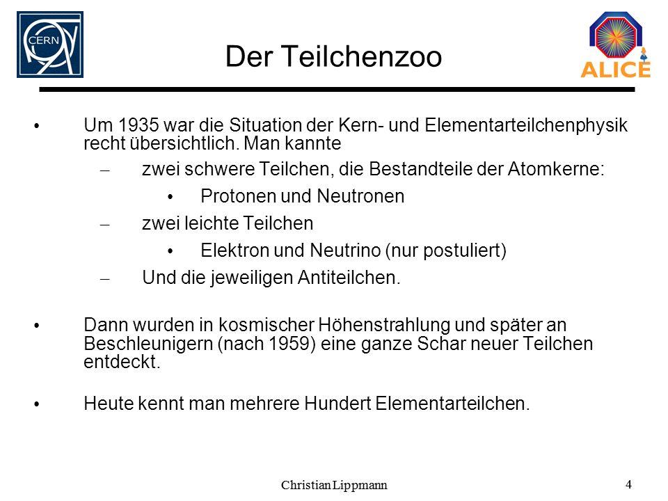 Christian Lippmann 4 4 Der Teilchenzoo Um 1935 war die Situation der Kern- und Elementarteilchenphysik recht übersichtlich. Man kannte – zwei schwere