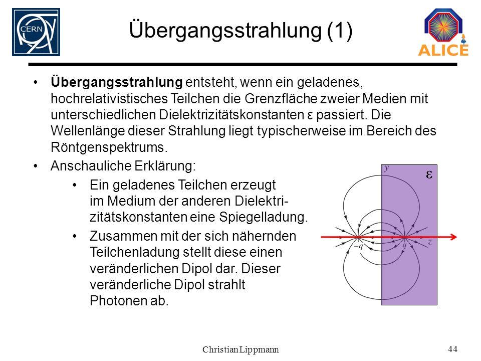 Christian Lippmann 44 Übergangsstrahlung (1) Übergangsstrahlung entsteht, wenn ein geladenes, hochrelativistisches Teilchen die Grenzfläche zweier Med