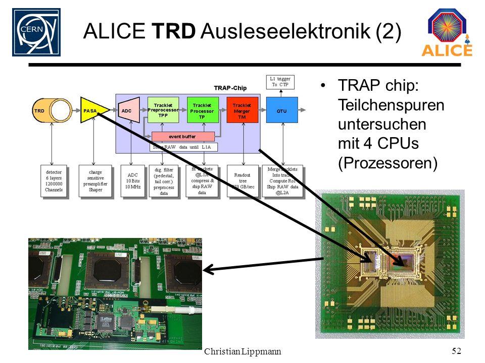 Christian Lippmann 52 ALICE TRD Ausleseelektronik (2) TRAP chip: Teilchenspuren untersuchen mit 4 CPUs (Prozessoren)