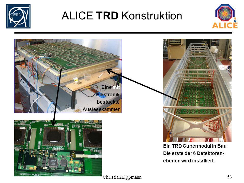 Christian Lippmann 53 ALICE TRD Konstruktion Ein TRD Supermodul in Bau Die erste der 6 Detektoren- ebenen wird installiert. Eine mit Elektronik bestüc
