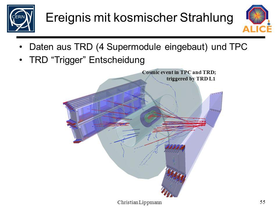 Christian Lippmann 55 Cosmic event in TPC and TRD; triggered by TRD L1 Ereignis mit kosmischer Strahlung Daten aus TRD (4 Supermodule eingebaut) und T