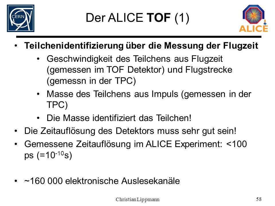 Christian Lippmann 58 Der ALICE TOF (1) Teilchenidentifizierung über die Messung der Flugzeit Geschwindigkeit des Teilchens aus Flugzeit (gemessen im