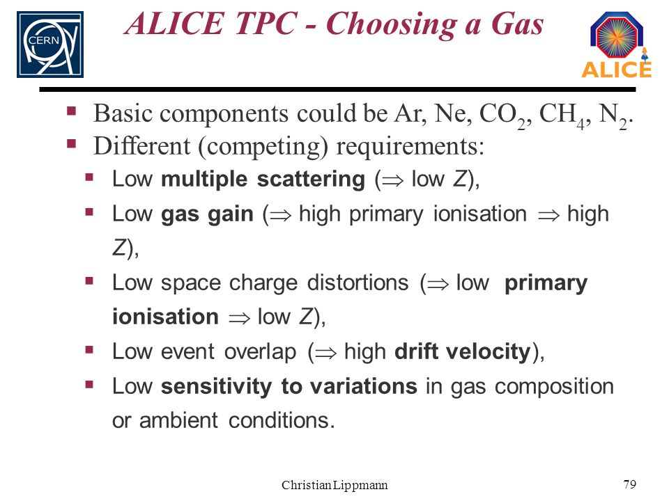 Christian Lippmann 79 ALICE TPC - Choosing a Gas Basic components could be Ar, Ne, CO 2, CH 4, N 2. Different (competing) requirements: Low multiple s