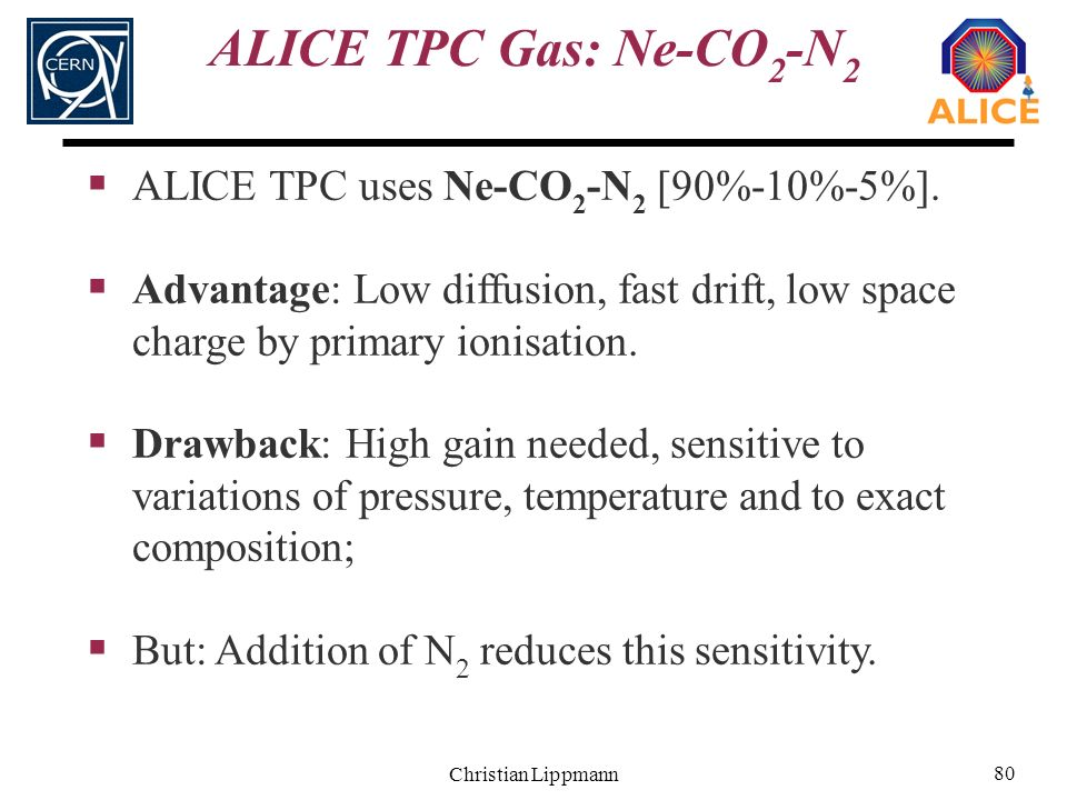 Christian Lippmann 80 ALICE TPC Gas: Ne-CO 2 -N 2 ALICE TPC uses Ne-CO 2 -N 2 [90%-10%-5%]. Advantage: Low diffusion, fast drift, low space charge by
