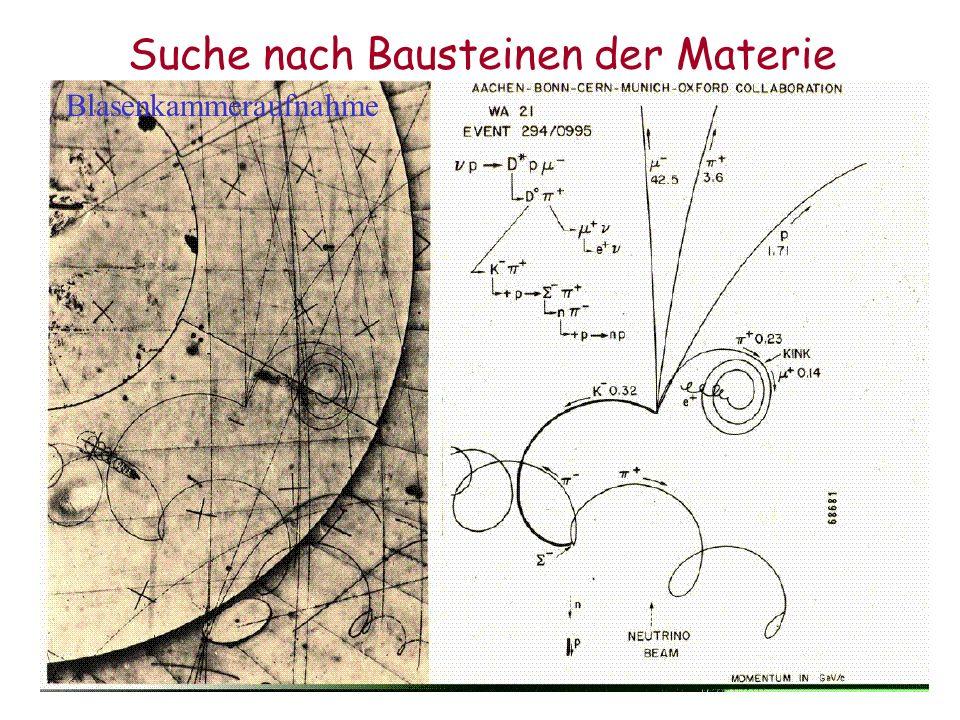 Suche nach Bausteinen der Materie Blasenkammeraufnahme