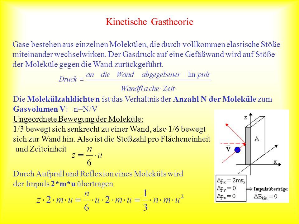 Kinetische Gastheorie Gase bestehen aus einzelnen Molekülen, die durch vollkommen elastische Stöße miteinander wechselwirken. Der Gasdruck auf eine Ge