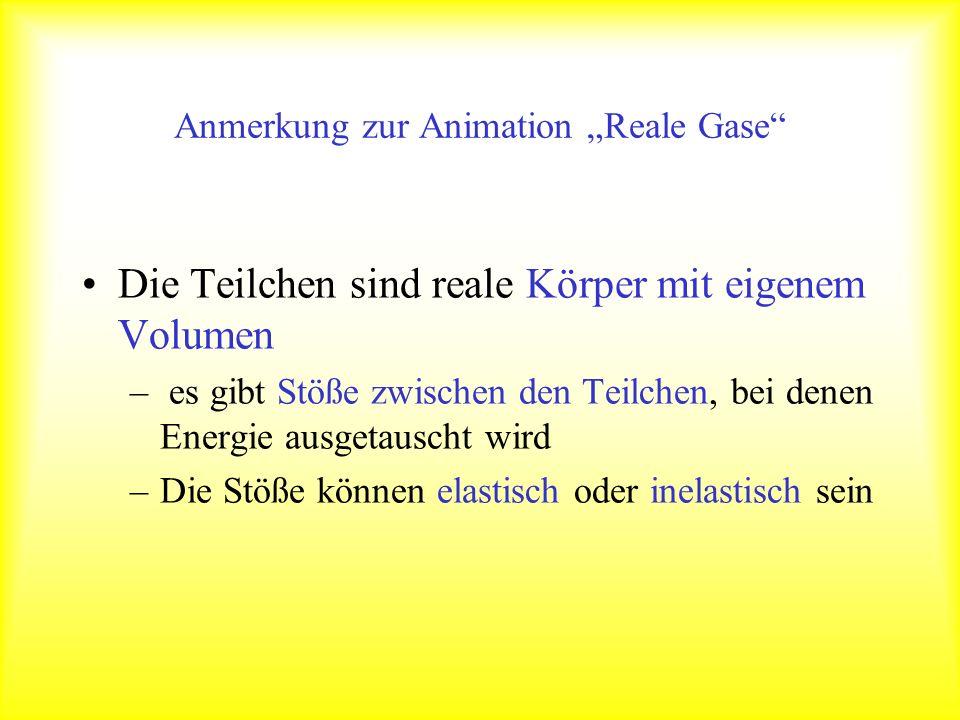 Anmerkung zur Animation Reale Gase Die Teilchen sind reale Körper mit eigenem Volumen – es gibt Stöße zwischen den Teilchen, bei denen Energie ausgeta