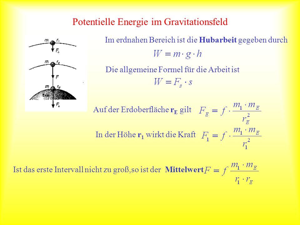 Potentielle Energie im Gravitationsfeld Für die Hubarbeit gilt dann: Dies läßt sich noch umformen zu Unterteilt man die Strecke in kleine Intervalle, so gilt auch Für f=6,67*10 -11 [m 3 kg -1 s -2 ], m E =5,97*10 24 kg und r E =6370km gilt näherungsweise